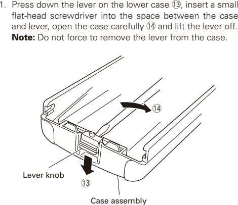 1. Press down the lever on the lower case !,3 insert a small flat-head screwdriver