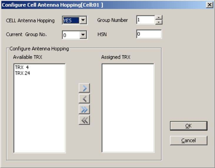 Figure 48-7 Configure Cell Antenna Hopping dialog box Step 6 Click OK to return to the