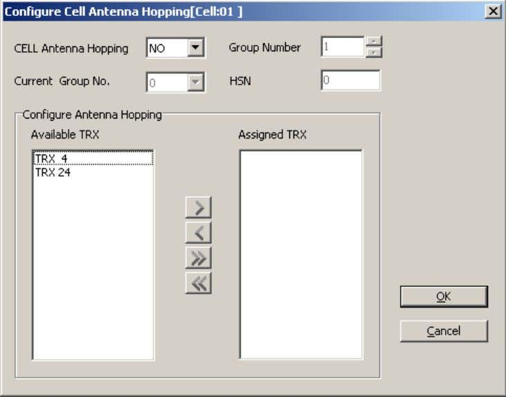 Figure 48-11 Configure Cell Antenna Hopping dialog box Step 6 Click OK to return to the