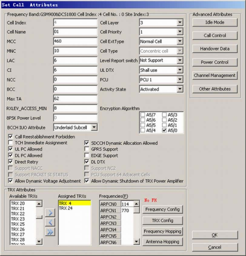 Description Figure 48-6 Set Cell Attributes dialog box Step 5 Click Antenna Hopping . A dialog