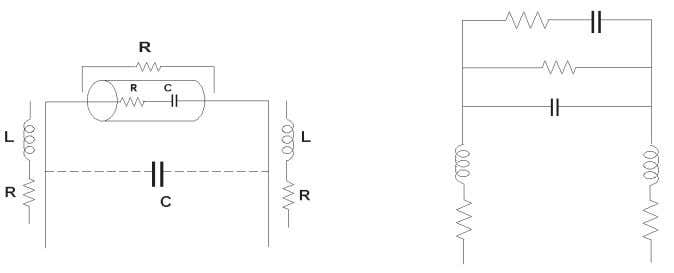 is represented by electrical symbols as shown in Figure 1-5. Figure 1-5. Component (capacitor) with parasitics