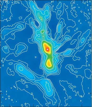 Figure 6. SABOCA map of the OMC-3 molecular cloud at 350 µm. Con- tours show