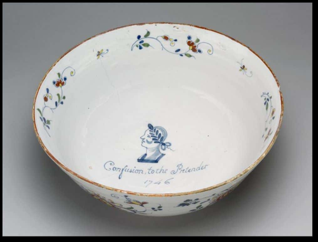 English Tin Glazed Earthenware Punch Bowl Commemorating Duke William and the Jacobite Rebellion of 1745