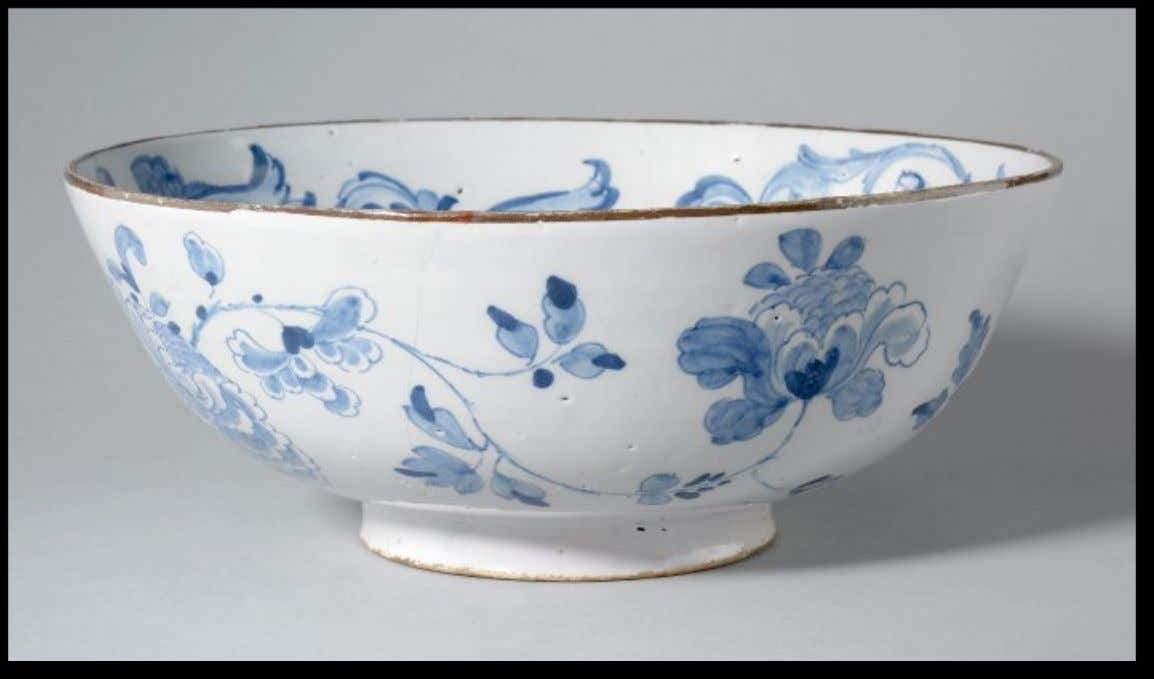"English Tin Glazed Earthenware Punch Bowl Marked ""Bonnie Prince Charlie"" ""AUDENTIOR IBO / ALL OR"