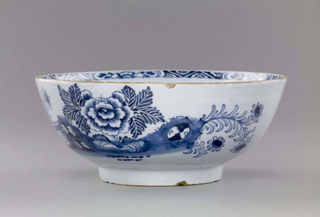 "English Tin Glazed Earthenware Punch Bowl Marked ""Success to the British Arms"" Mid 18th Century"