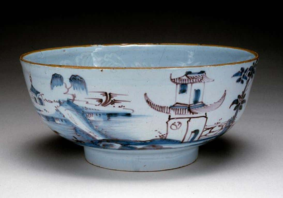 English Tin Glazed Earthenware Punch Bowl from London c. 1756 - 1763 (Five Colleges &