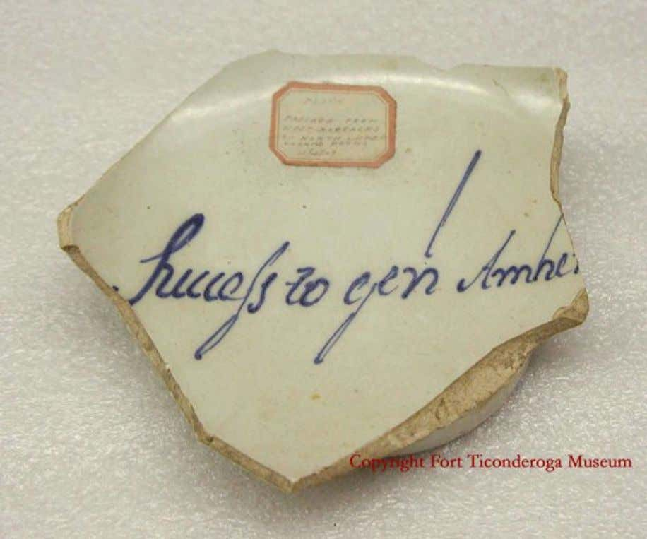 "English Tin Glazed Earthenware Punch Bowl Shard Marked ""Success to genl Amher(st)"" Recovered at Fort"