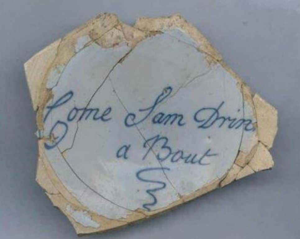 "English Tin Glazed Earthenware Punch Bowl Marked ""Come Sam Drink a Bout"" Recovered at Crown"