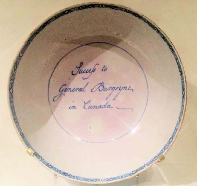 "English Tin Glazed Earthenware Punch Bowl Marked ""Success to General Burgoyne in Canada"" c. 1777"