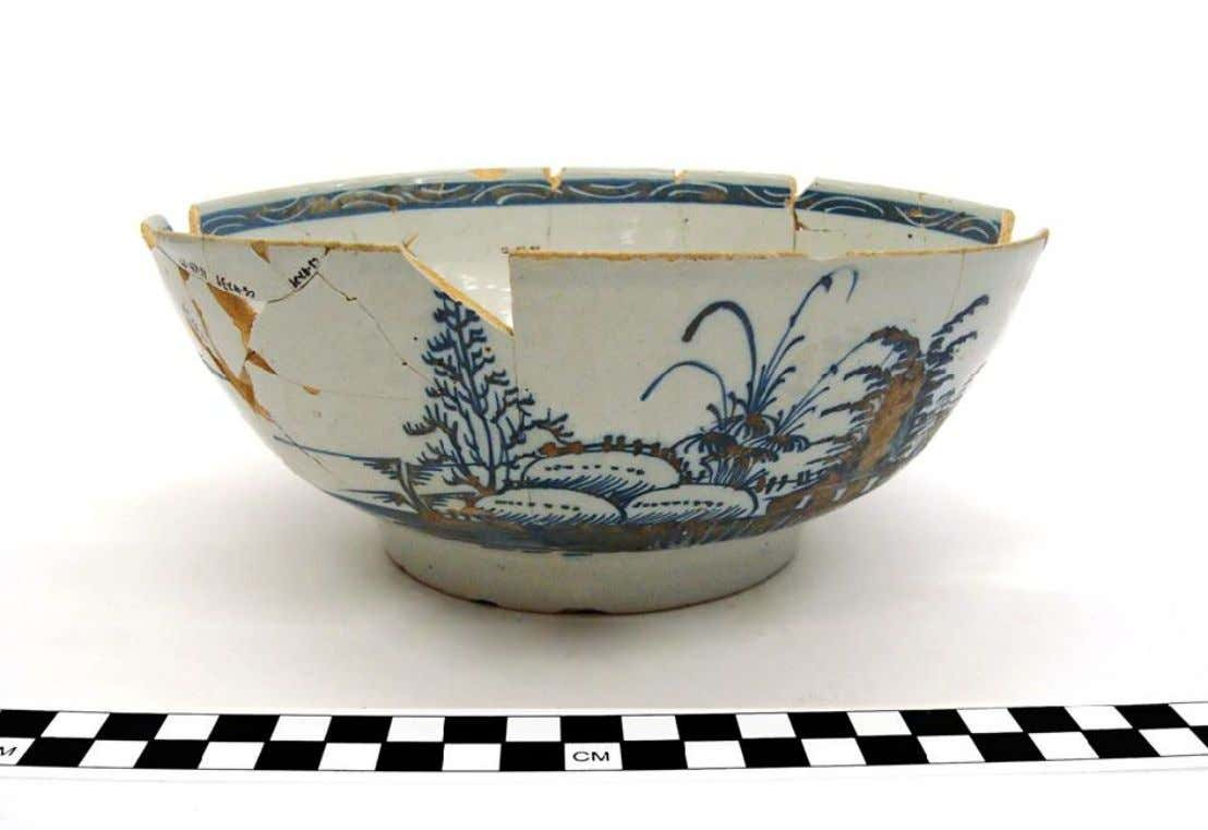 English Tin Glazed Earthenware Punch Bowl Recovered from theThree Cranes Tavern Privy, Charlestown, Massachusetts, Burned