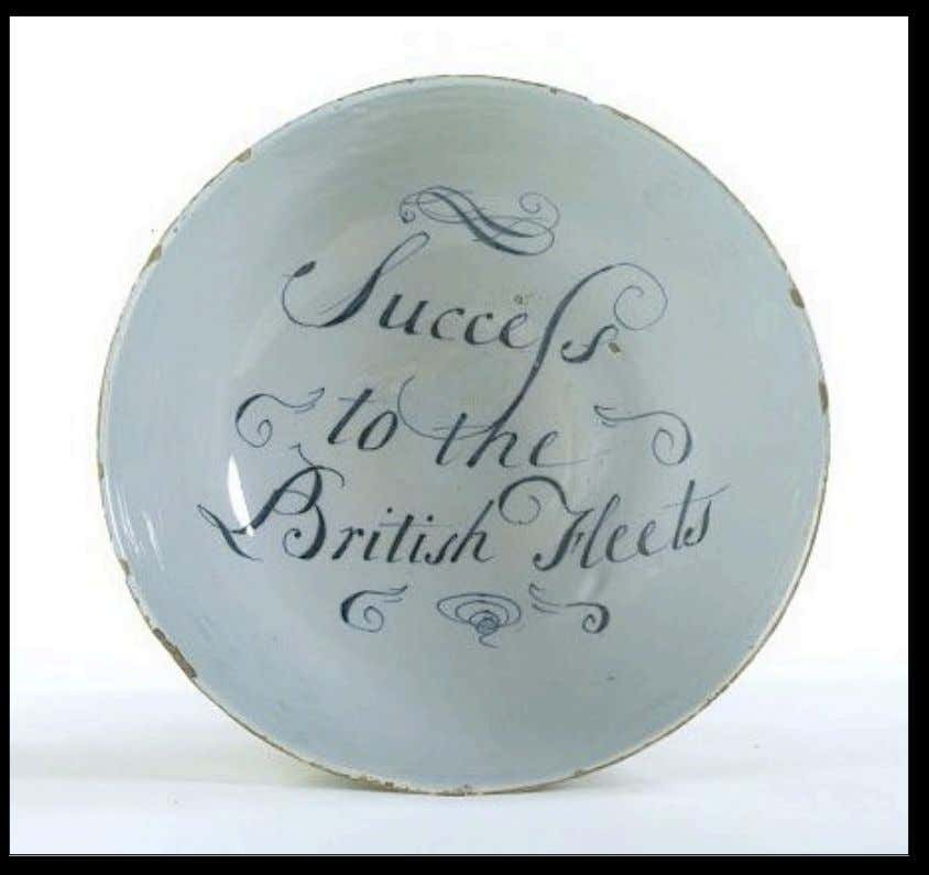 "English Tin Glazed Earthenware Punch Bowl from Liverpool Marked ""Success to the British Fleets"" c."