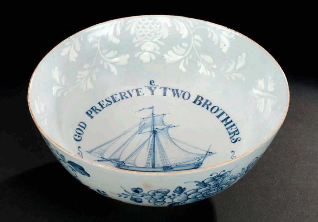 "English Tin Glazed Earthenware Punch Bowl from Bristol / North Somerset Marked ""GOD PRESERVE YE"