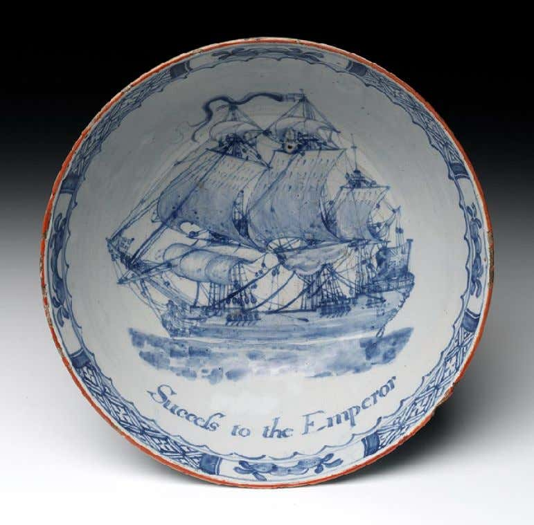 "English Tin Glazed Earthenware Punch Bowl Marked ""Success tot he Emperor"" c. 1762 (National Maritime"
