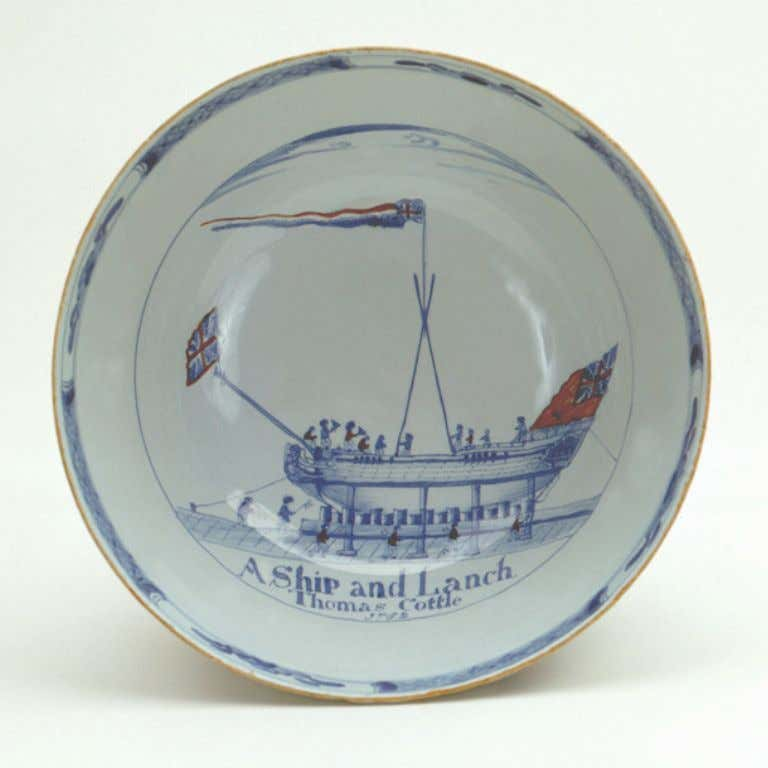 "English Tin Glazed Earthenware Punch Bowl from Liverpool Marked ""A Ship and Launch. Thomas Cottle,"