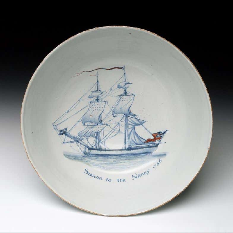 "English Tin Glazed Earthenware Punch Bowl from Liverpool Marked ""Success to the Nancy 1766"" (National"
