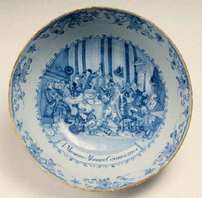 "English Punchbowl Decorated with William Hogarth's ""A Midnight Modern Conversation"" Mid - 18th Century (Private"