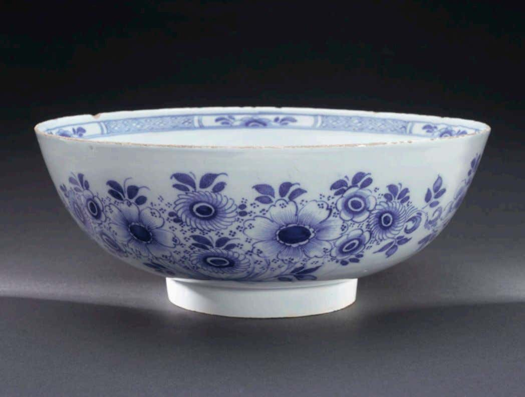 "English Tin Glazed Earthenware Punch Bowl Marked ""Success to the Beehive"" c. 1760 - 1770"