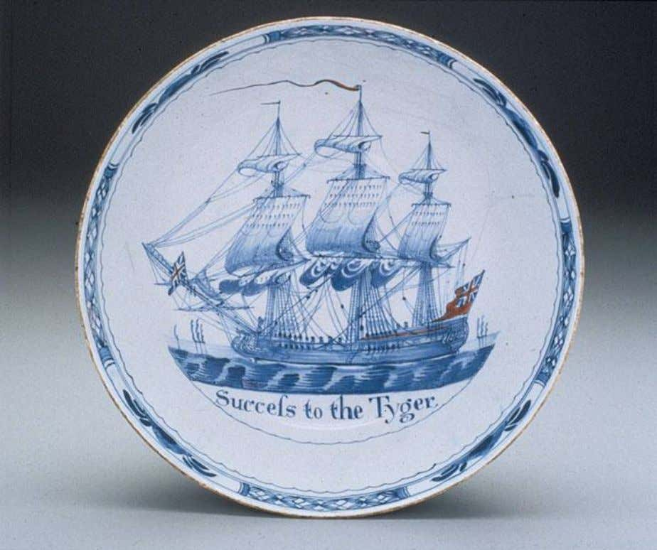 "English Tin Glazed Earthenware Punch Bowl Marked ""Success to the Tyger"" c. 1760 - 1770"