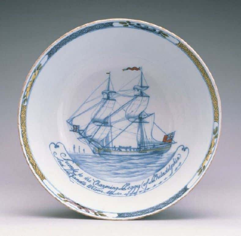 "English Tin Glazed Earthenware Punch Bowl from Liverpool ""Success to the Charming Peggy of Philadelphia"""
