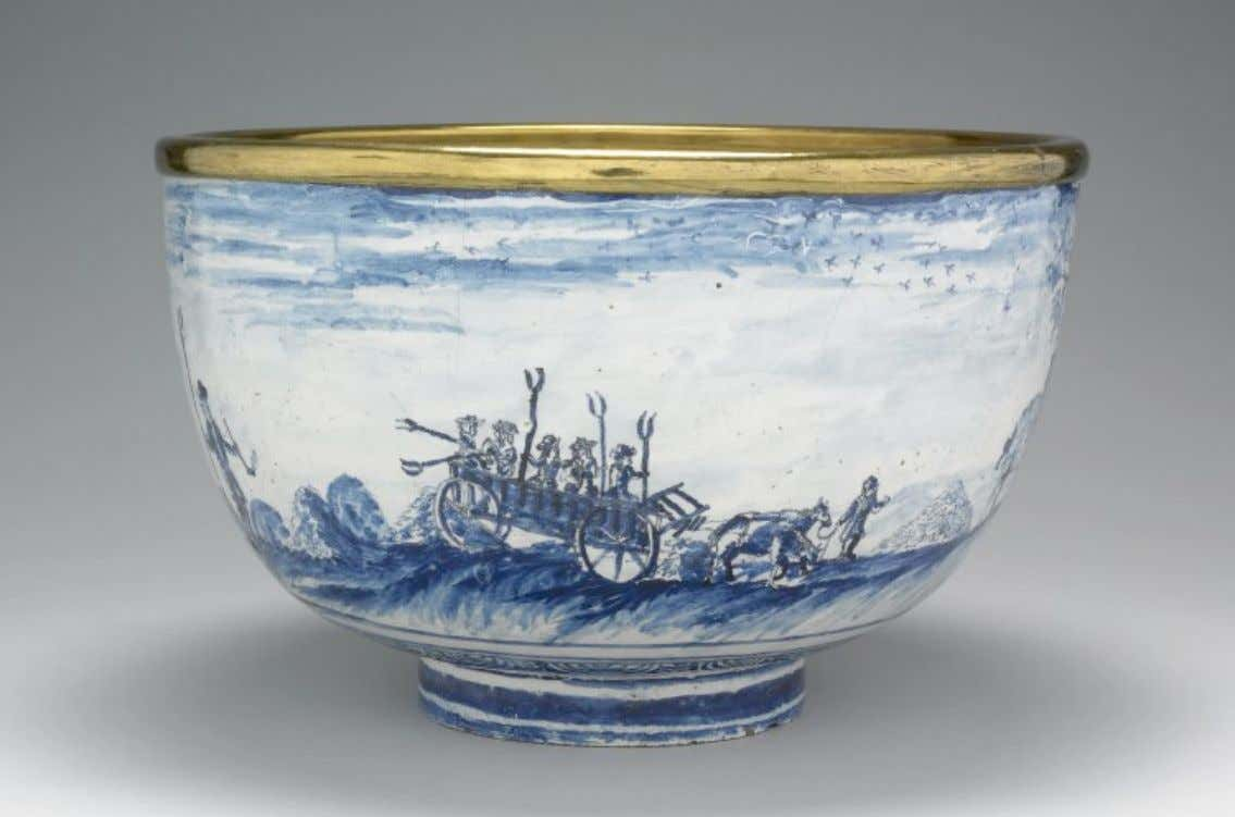 English Tin Glazed Earthenware & Brass Punch Bowl from London c. 1720 - 1740 (The