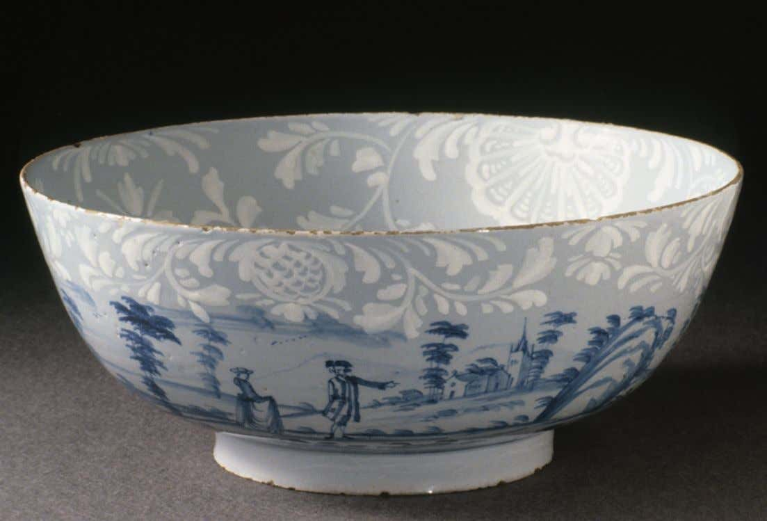 English Tin Glazed Earthenware Punch Bowl from Bristol c. 1765 - 1775 (Winterthur)