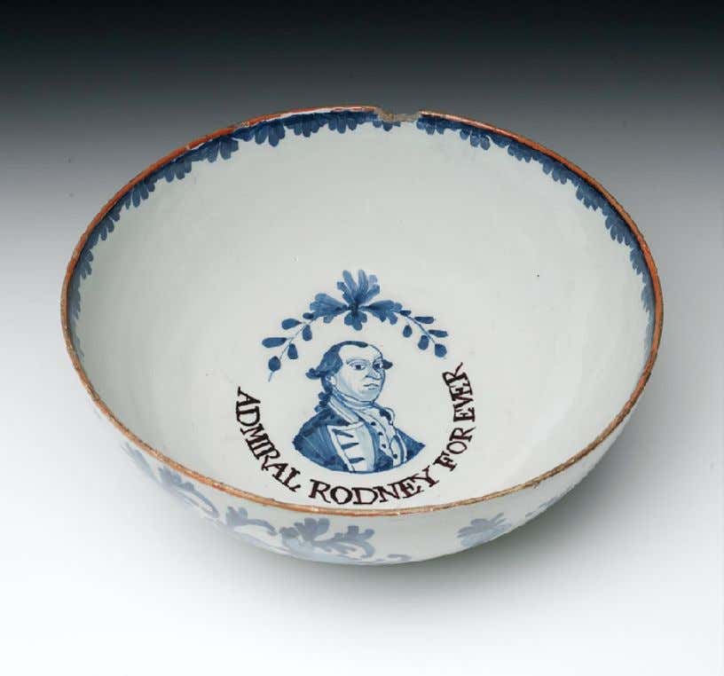 "English Tin Glazed Earthenware Punch Bowl Marked ""ADMIRAL RODNEY FOR EVER"" c. 1768 (National Maritime"
