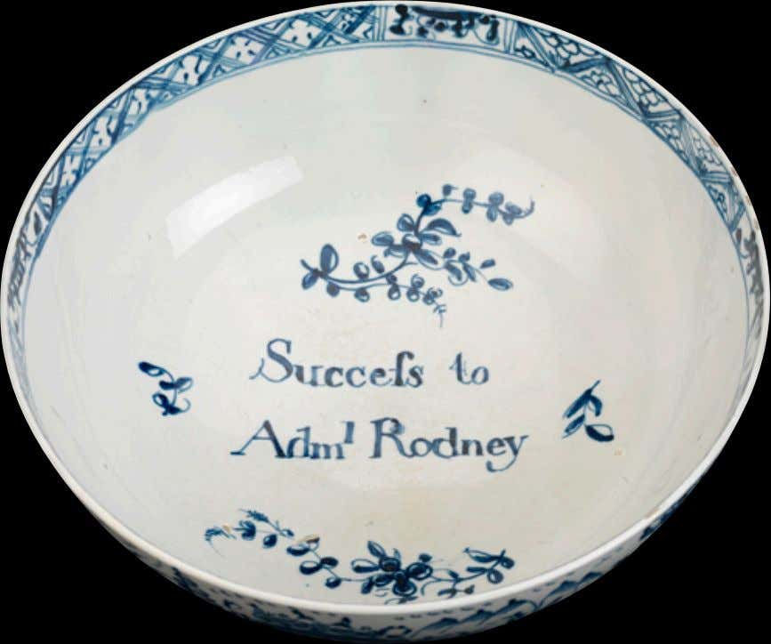 "English Pearlware Punch Bowl from Liverpool Marked ""Success to Adml. Rodney"" c. 1782 (National Maritime"