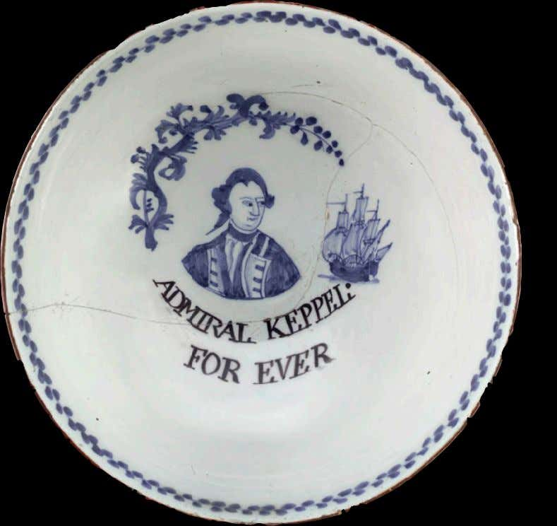 "English Tin Glazed Earthenware Punch Bowl from Lambeth Marked ""ADMIRAL KEPPEL FOR EVER"" c. 1780"