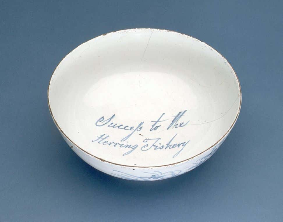 "English Tin Glazed Earthenware Punch Bowl Marked ""Success to the Herring Fishery"" Late 18th Century"