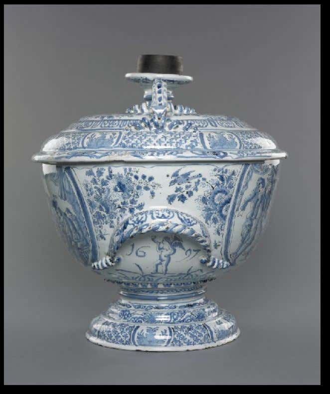 English or Dutch Tin Glazed Footed Punch Bowl with Lid 