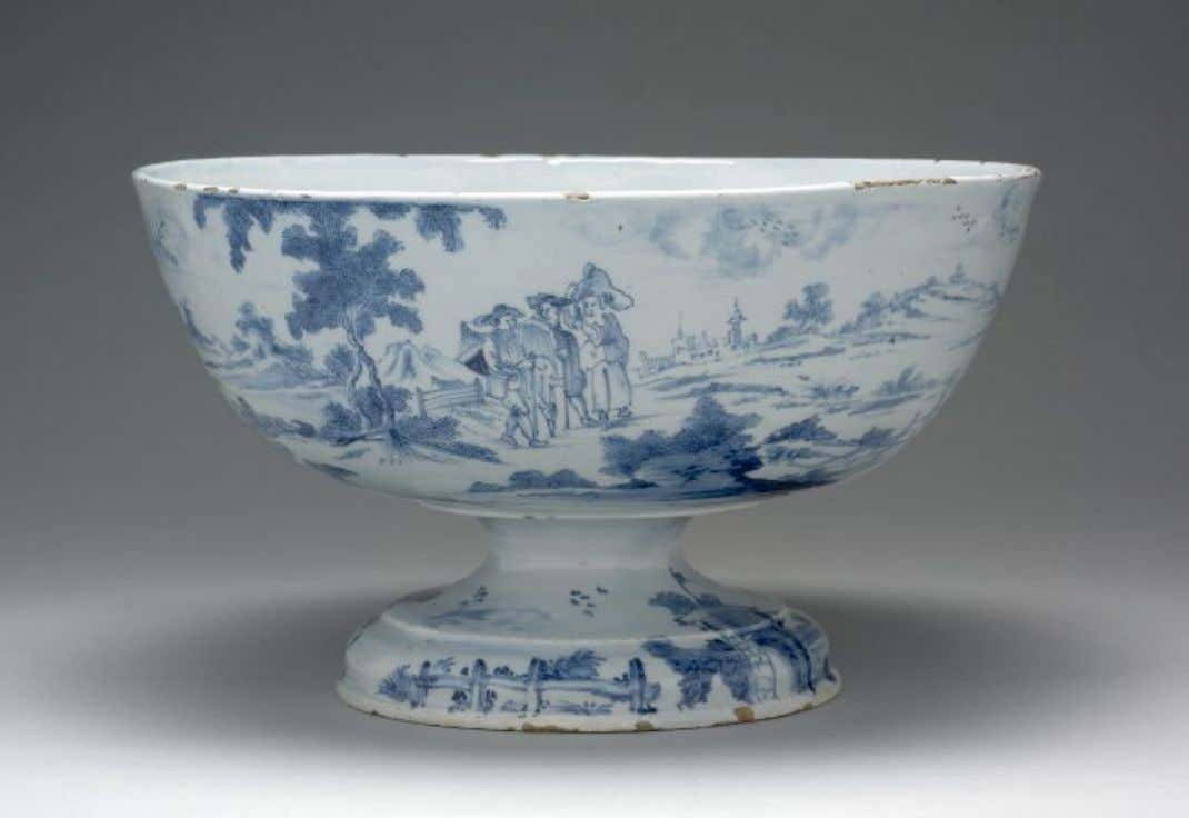 English Tin Glazed Earthenware Footed Punch Bowl from London 