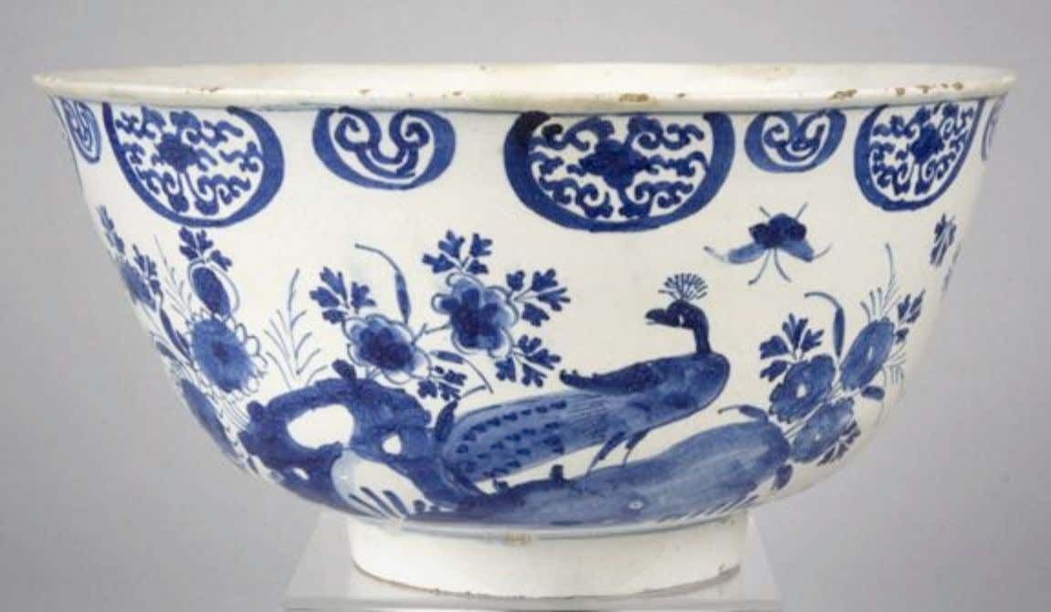 English Tin Glazed Earthenware Delft Punch Bowl c. 1740 (Private Collection)