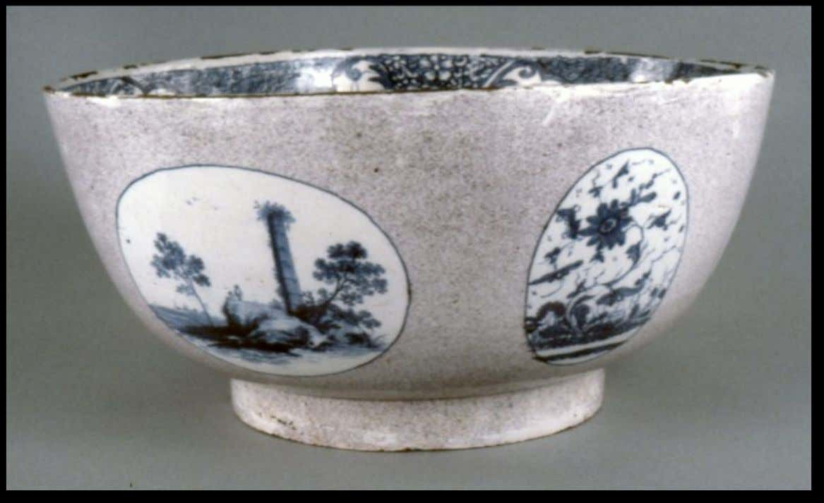 Irish Tin Glazed Earthenware Punch Bowl by the Factory of Capt Henry Delamain of Dublin