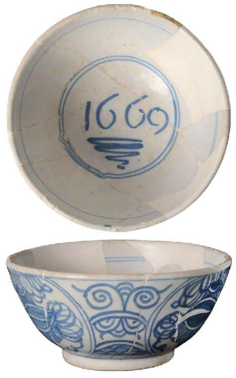 Dutch Tin Glazed Earthenware Delft Punch Bowl 1669 (Private Collection - Ceramics in America)