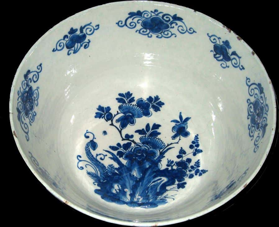 "Dutch Tin Glazed Earthenware Delft Punch Bowl ""F S*M 1713"" (Winterthur)"