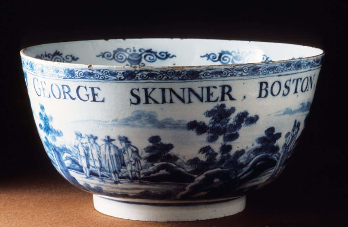 "Dutch Tin Glazed Earthenware Delft Punch Bowl Marked ""George Skinner Boston"" 1732 (Winterthur)"