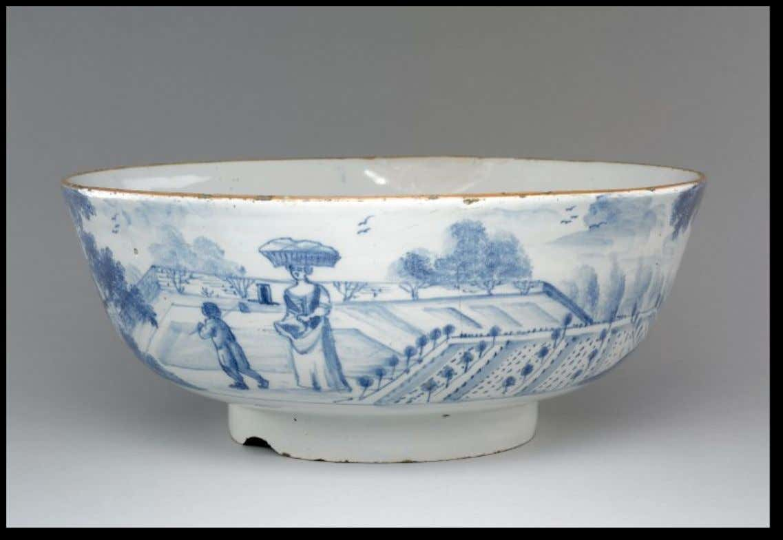 English Tin Glazed Earthenware Punch Bowl Marked with the Arms and Supporters of the Gardener's