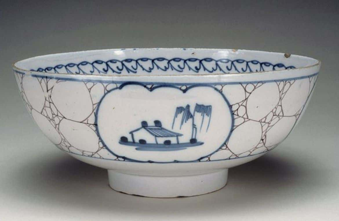English Tin Glazed Earthenware Punch Bowl from Bristol c. 1770 (Five Colleges & Historic Deerfield