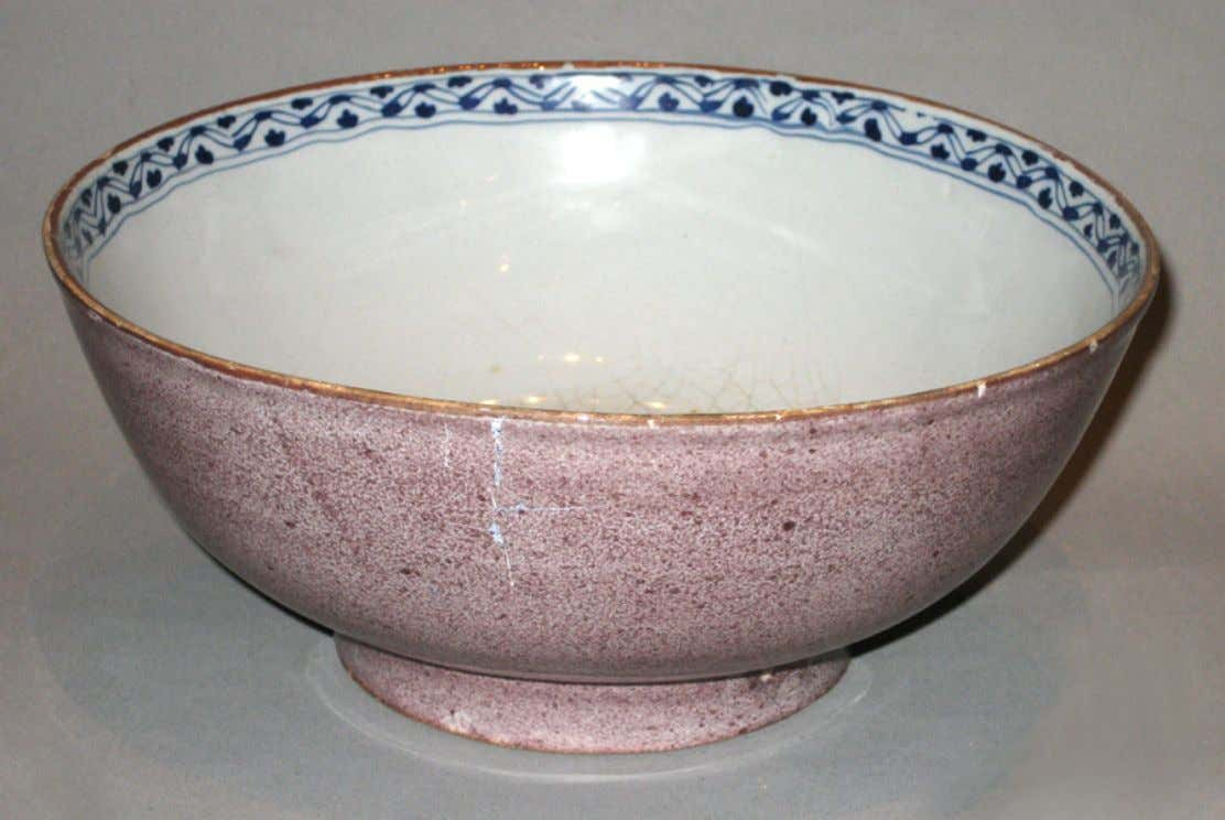 English Tin Glazed Earthenware Punch Bowl c. 1710 - 1750 (Victoria & Albert Museum)