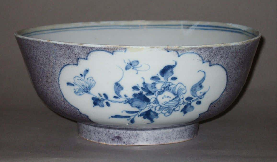 English Tin Glazed Earthenware Punch Bowl from London c. 1760 - 1770 (Winterthur)