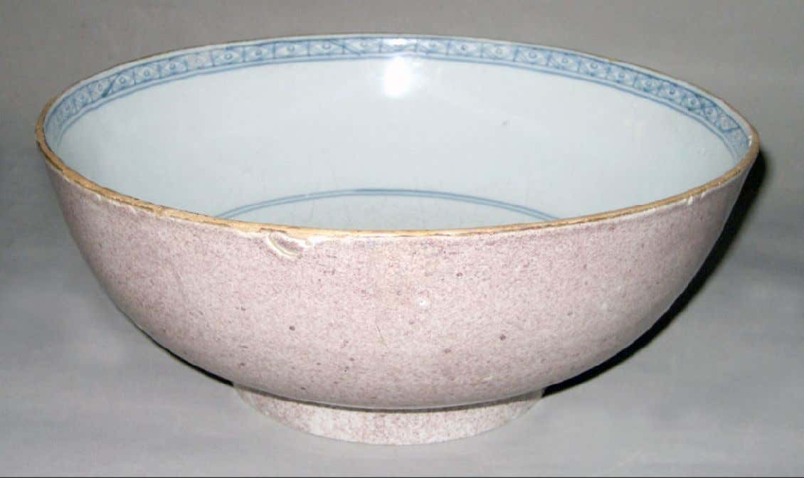 English Tin Glazed Earthenware Punch Bowl from London c. 1770 - 1780 (Winterthur)