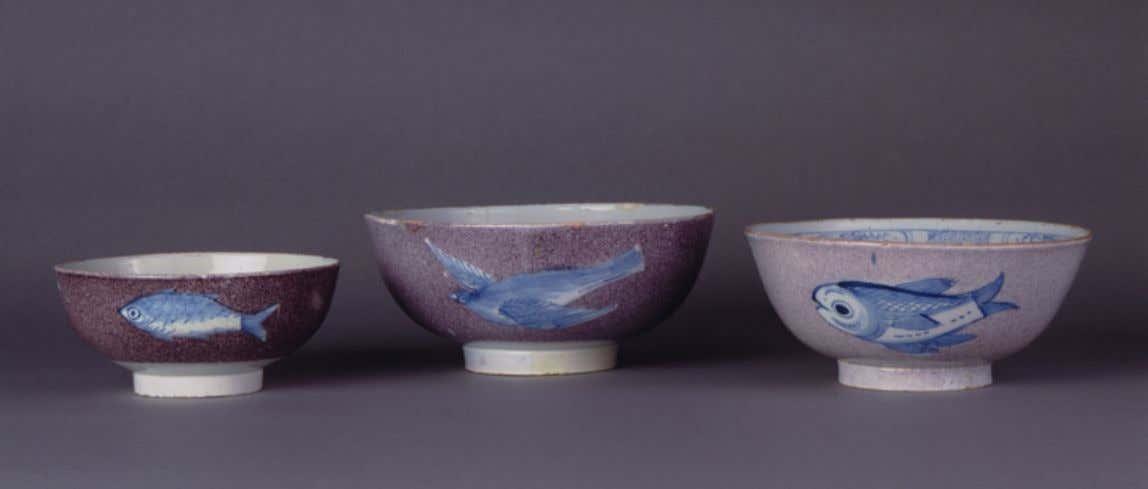 English Tin Glazed Earthenware Punch Bowls from Bristol c. 1720 - 1740 (Winterthur)