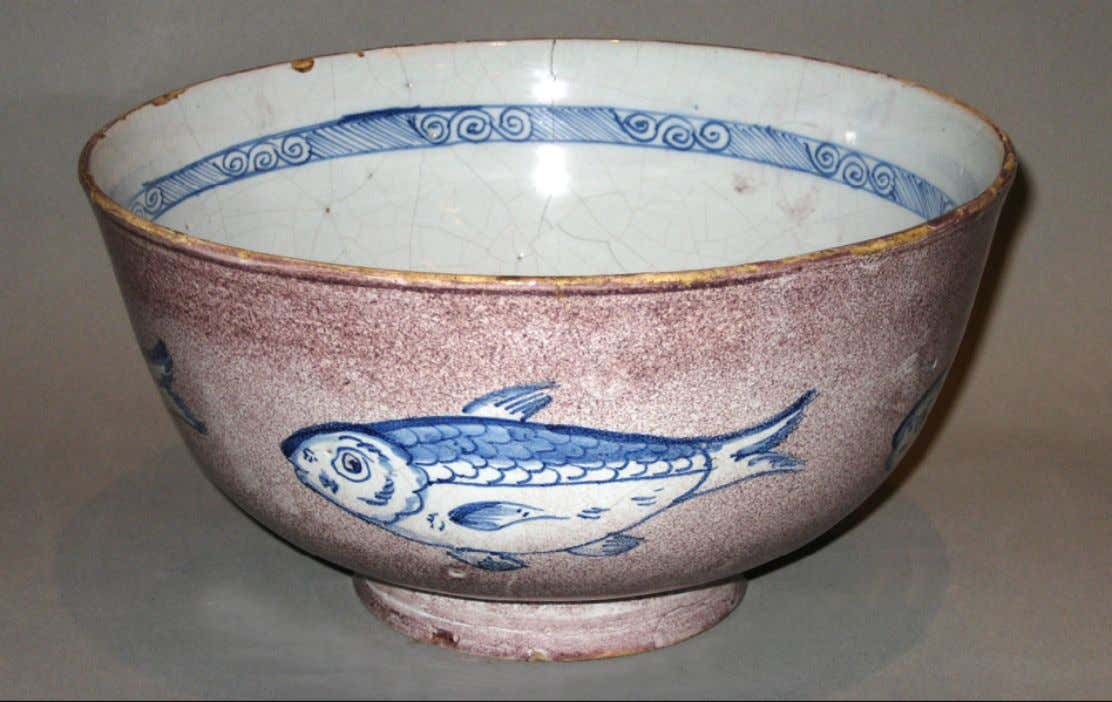 English Tin Glazed Earthenware Punch Bowl from Bristol c. 1720 - 1740 (Winterthur)
