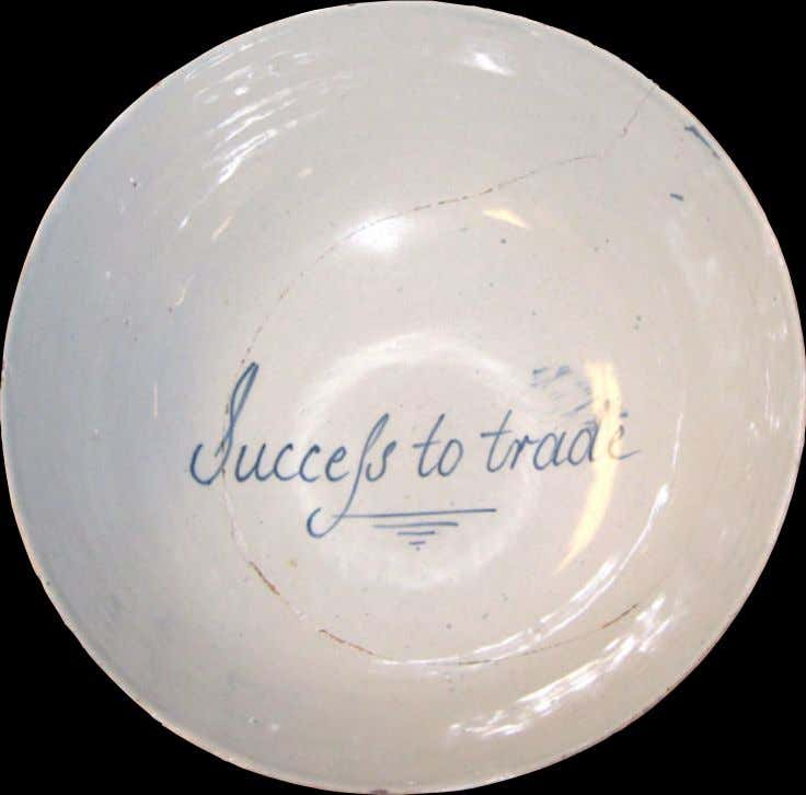 "English Tin Glazed Earthenware Punch Bowl from Bristol Marked ""Success to Trade"" c. 1720 -"