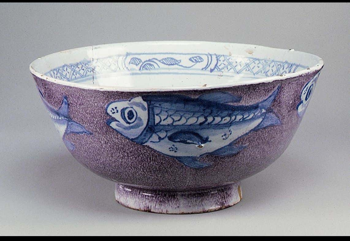English Tin Glazed Earthenware Punch Bowl from Bristol c. 1730 - 1740 (Metropolitan Museum of