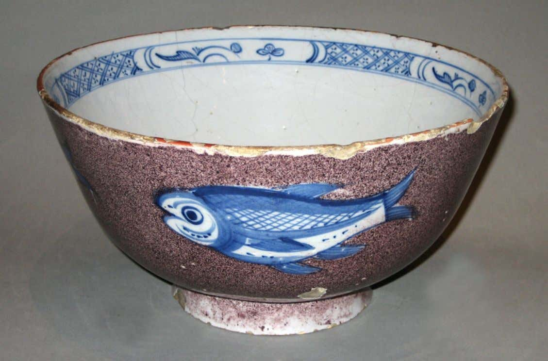 English Tin Glazed Earthenware Punch Bowl from Bristol c. 1730 - 1760 (Victoria & Albert)