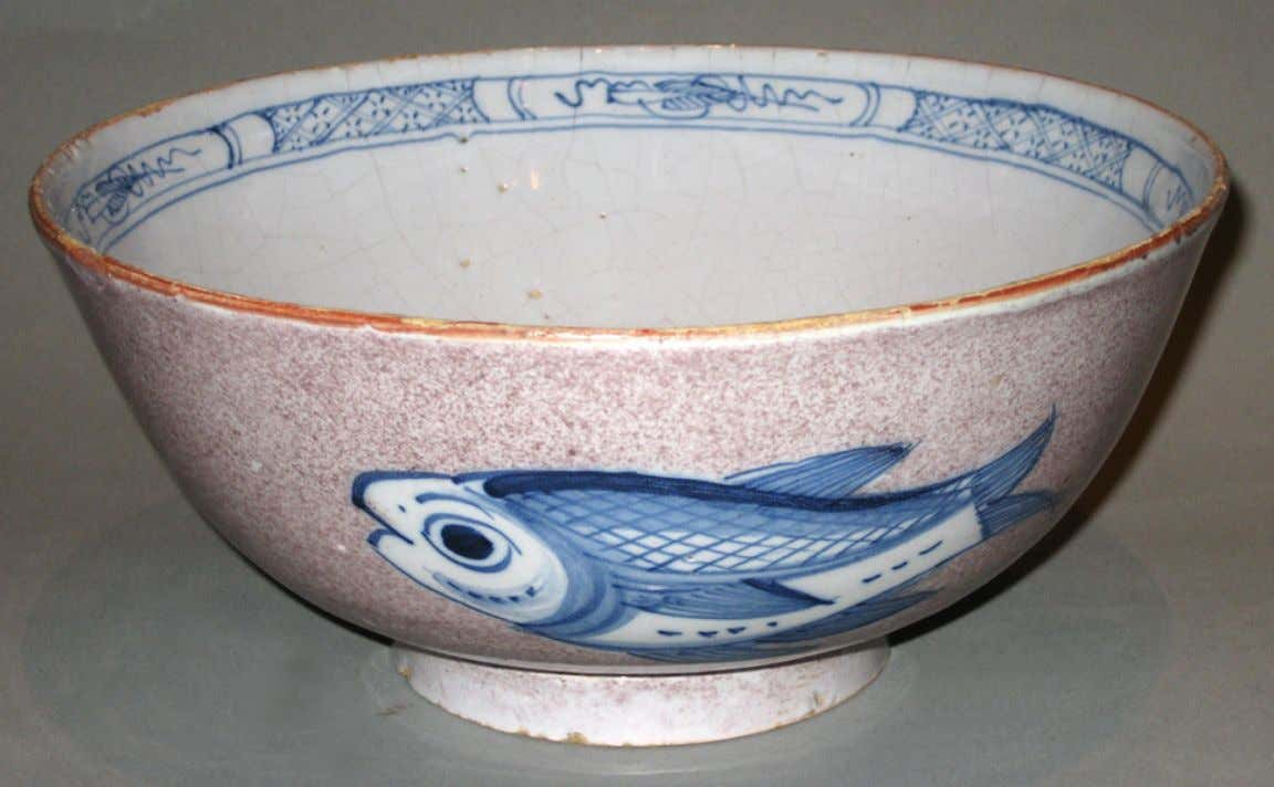 English Tin Glazed Earthenware Punch Bowl from Bristol c. 1745 - 1775 (Winterthur)