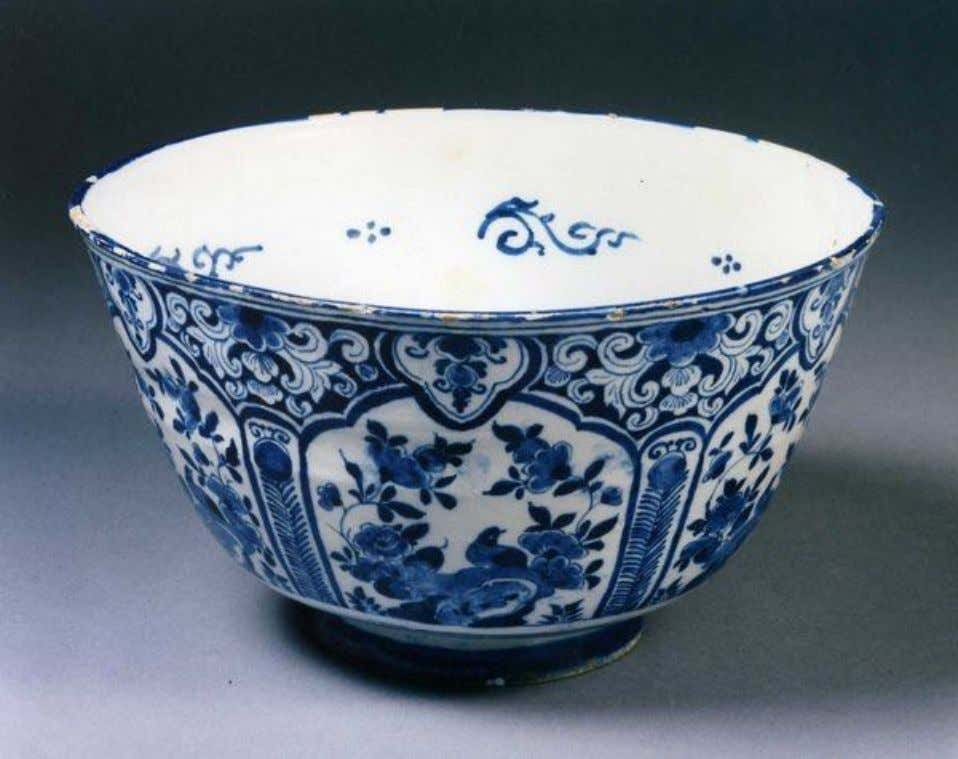 "English Tin Glazed Earthenware Delft Punch Bowl Initialed ""E P"" Dated 1735 (Private Collection)"