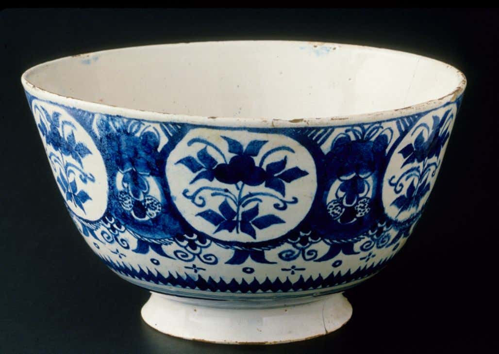 English Tin Glazed Earthenware Punch Bowl from Bristol c. 1720 - 1730 (Winterthur)