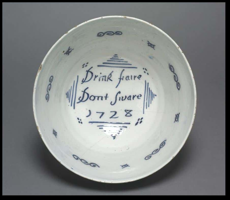 "English Tin Glazed Earthenware Punch Bowl from Brislington or London Marked ""Drink faire Dont Sware"